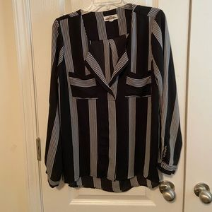 Hippie Rose Black and White Striped Blouse